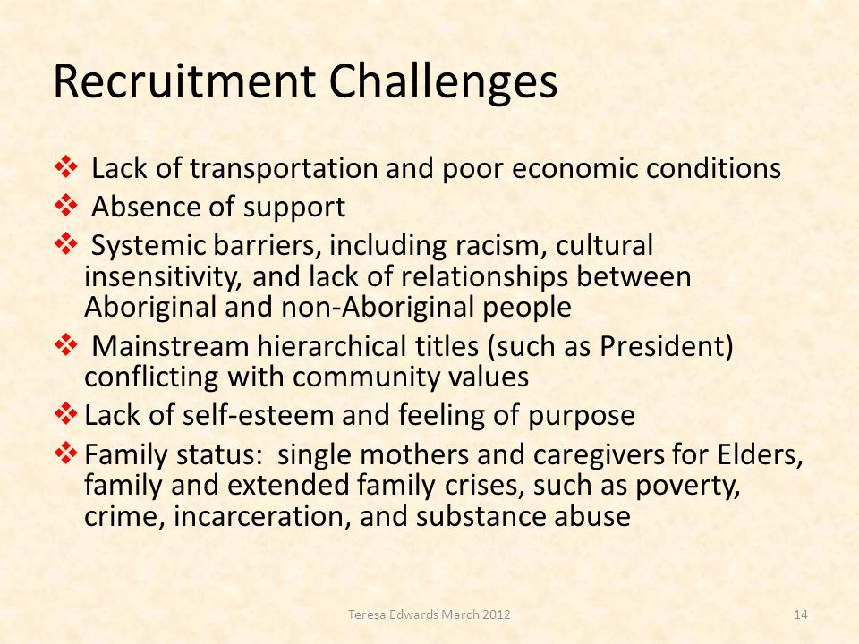 Recruitment Challenges  Lack of transportation and poor economic conditions  Absence of support  Systemic barriers, including racism, cultural insensitivity, and lack of relationships between Aboriginal and non-Aboriginal people  Mainstream hierarchical titles (such as President) conflicting with community values  Lack of self-esteem and feeling of purpose  Family status: single mothers and caregivers for Elders, family and extended family crises, such as poverty, crime, incarceration, and substance abuse 14Teresa Edwards March 2012