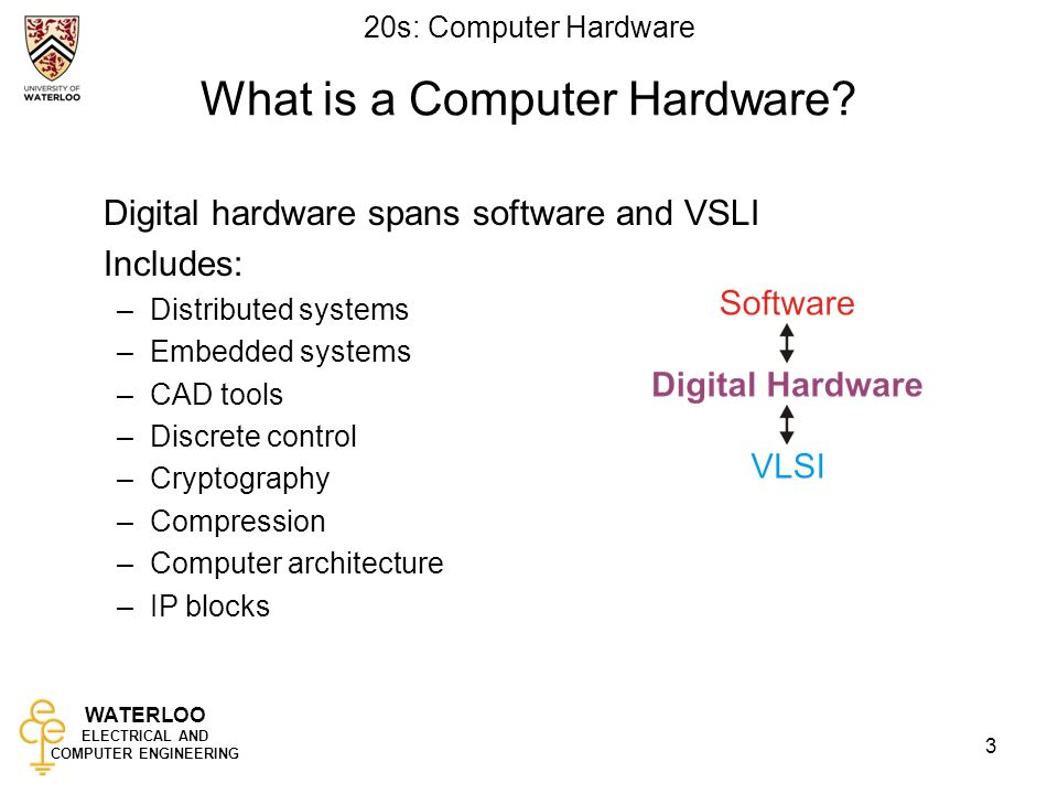 WATERLOO ELECTRICAL AND COMPUTER ENGINEERING 20s: Computer Hardware 3 What is a Computer Hardware.