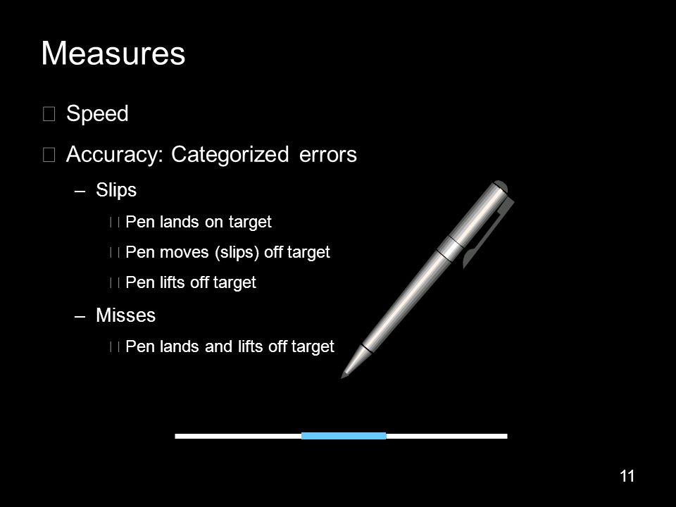 11 ▶ Speed ▶ Accuracy: Categorized errors –Slips ▶ Pen lands on target ▶ Pen moves (slips) off target ▶ Pen lifts off target –Misses ▶ Pen lands and lifts off target Measures