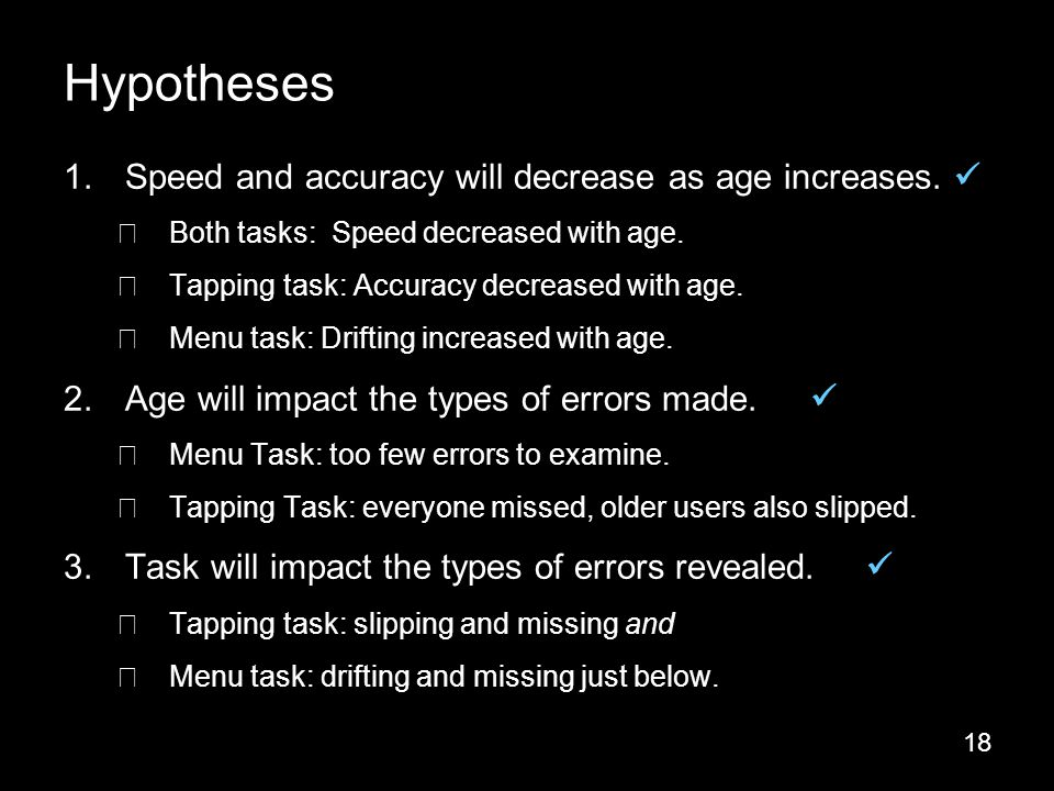 18 1.Speed and accuracy will decrease as age increases.