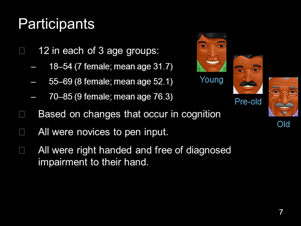 7 Participants ▶ 12 in each of 3 age groups: –18–54 (7 female; mean age 31.7) –55–69 (8 female; mean age 52.1) –70–85 (9 female; mean age 76.3) ▶ Based on changes that occur in cognition ▶ All were novices to pen input.