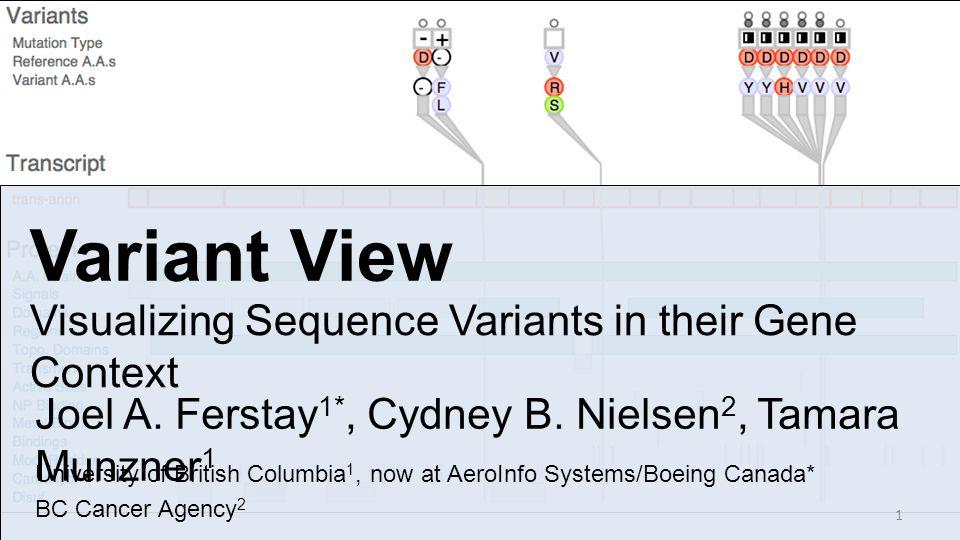 Variant View Visualizing Sequence Variants in their Gene Context Joel A. Ferstay 1*, Cydney B. Nielsen 2, Tamara Munzner 1 University of British Colum