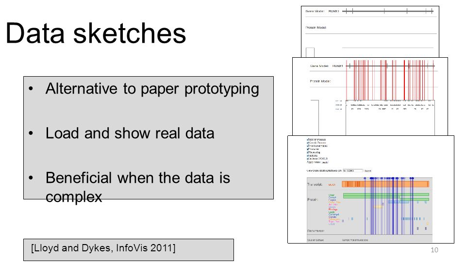 Data sketches Alternative to paper prototyping Load and show real data Beneficial when the data is complex 10 [Lloyd and Dykes, InfoVis 2011]