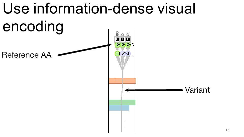 Use information-dense visual encoding 54