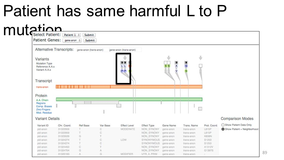 Patient has same harmful L to P mutation 89