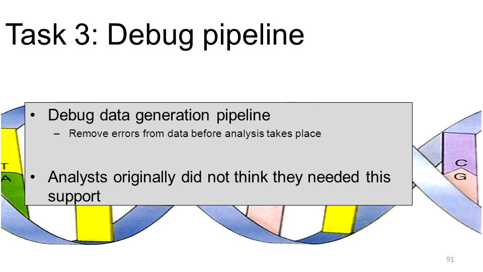 Task 3: Debug pipeline Debug data generation pipeline –Remove errors from data before analysis takes place Analysts originally did not think they need