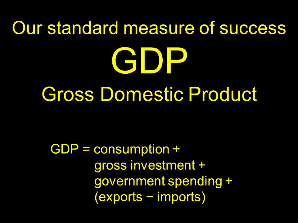 Our standard measure of success GDP Gross Domestic Product GDP = consumption + gross investment + government spending + (exports − imports)