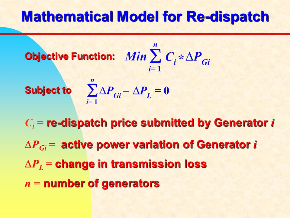Mathematical Model for Re-dispatch Objective Function: Subject to re-dispatch price submitted by Generator i C i = re-dispatch price submitted by Generator i active power variation of Generator i  P Gi = active power variation of Generator i change in transmission loss  P L = change in transmission loss number of generators n = number of generators