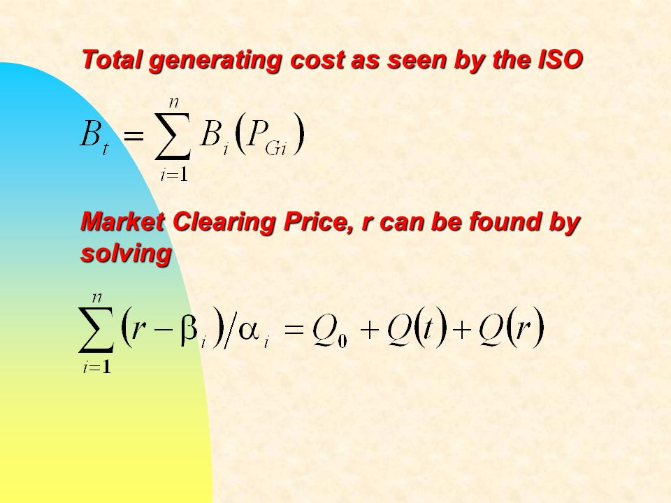 Total generating cost as seen by the ISO Market Clearing Price, r can be found by solving