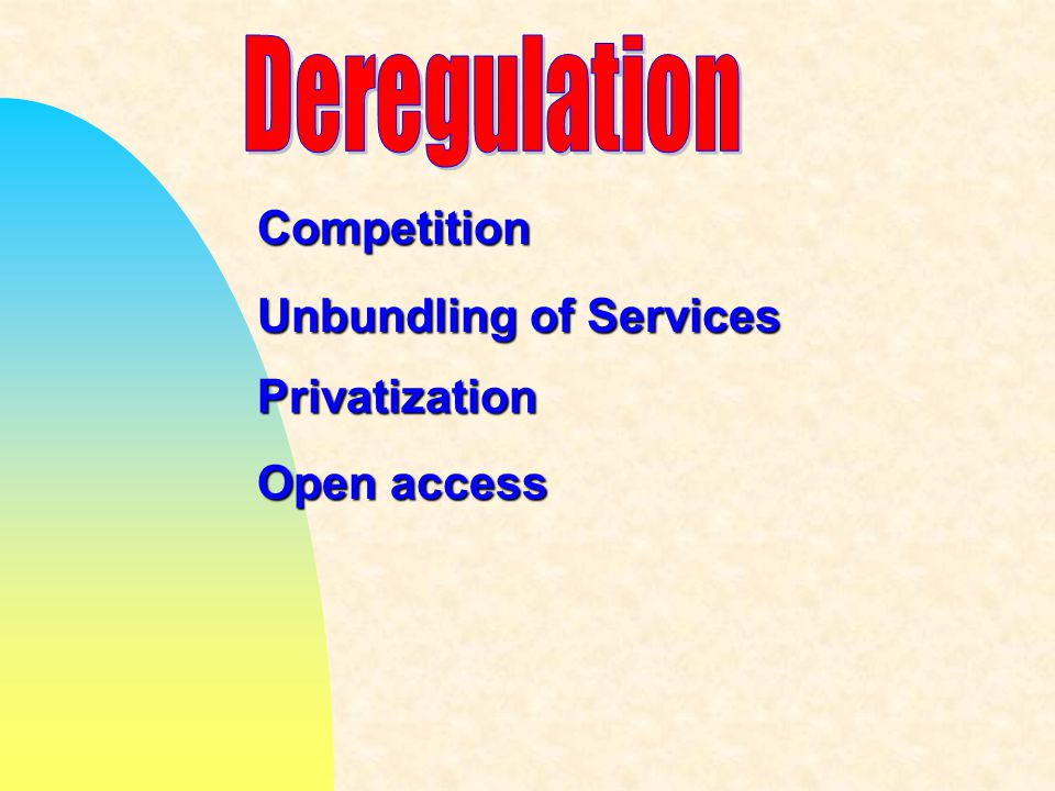 Unbundling of Services Competition Privatization Open access