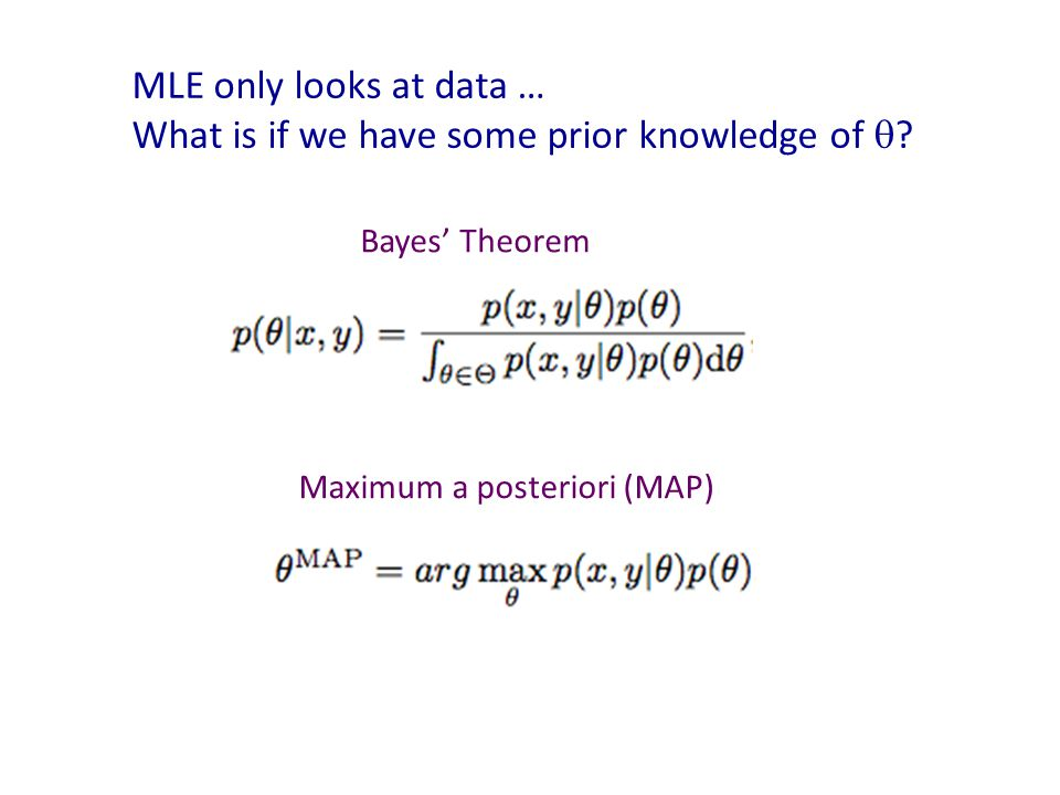 MLE only looks at data … What is if we have some prior knowledge of  .