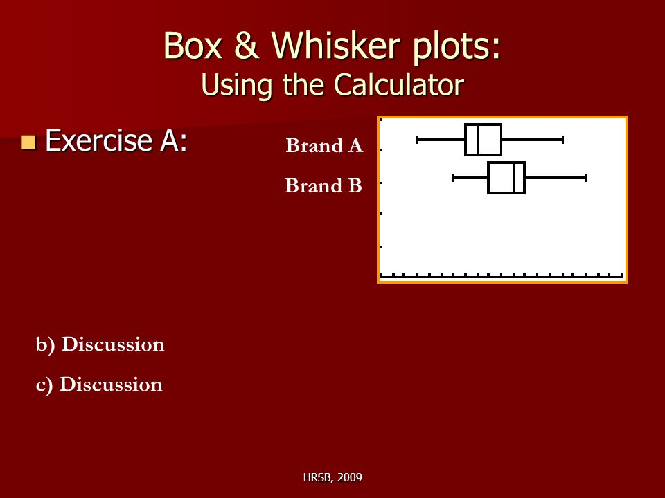 HRSB, 2009 Box & Whisker plots: Using the Calculator Exercise A: Exercise A: Brand A Brand B b) Discussion c) Discussion
