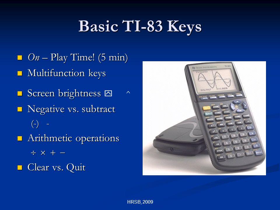 Basic TI-83 Keys On – Play Time. (5 min) On – Play Time.