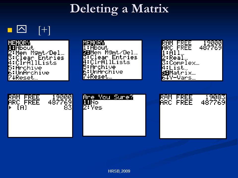 HRSB, 2009 Deleting a Matrix y [+]