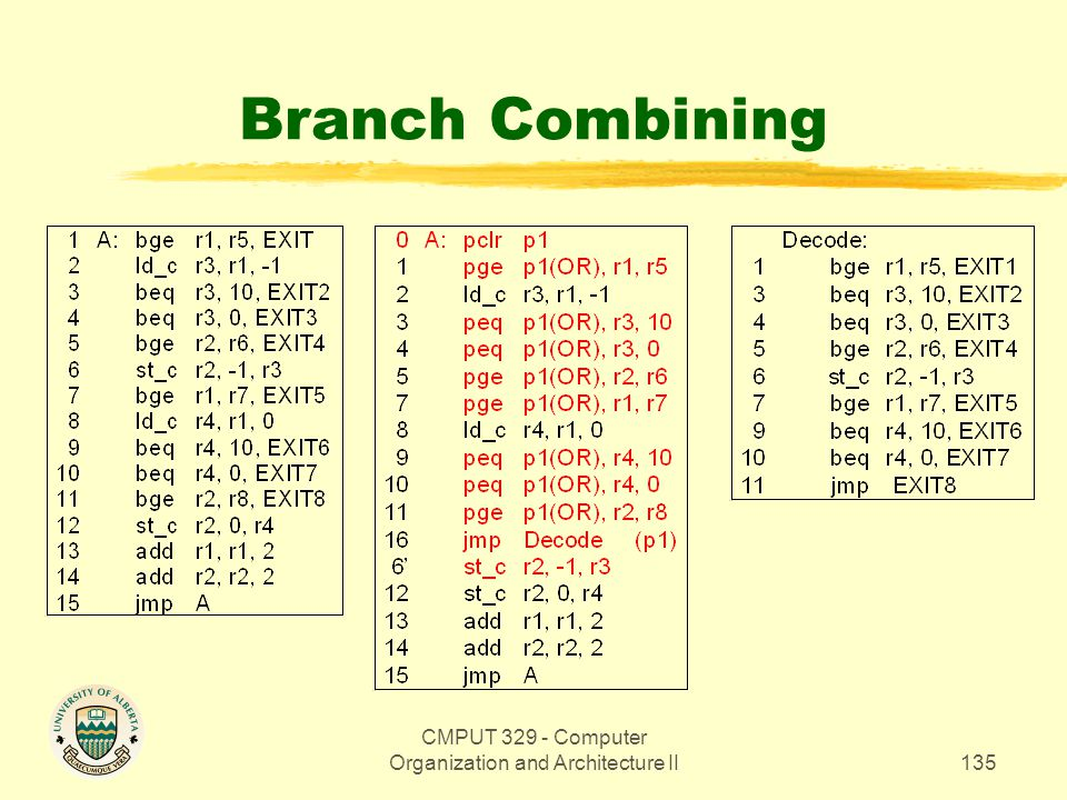 CMPUT 329 - Computer Organization and Architecture II135 Branch Combining