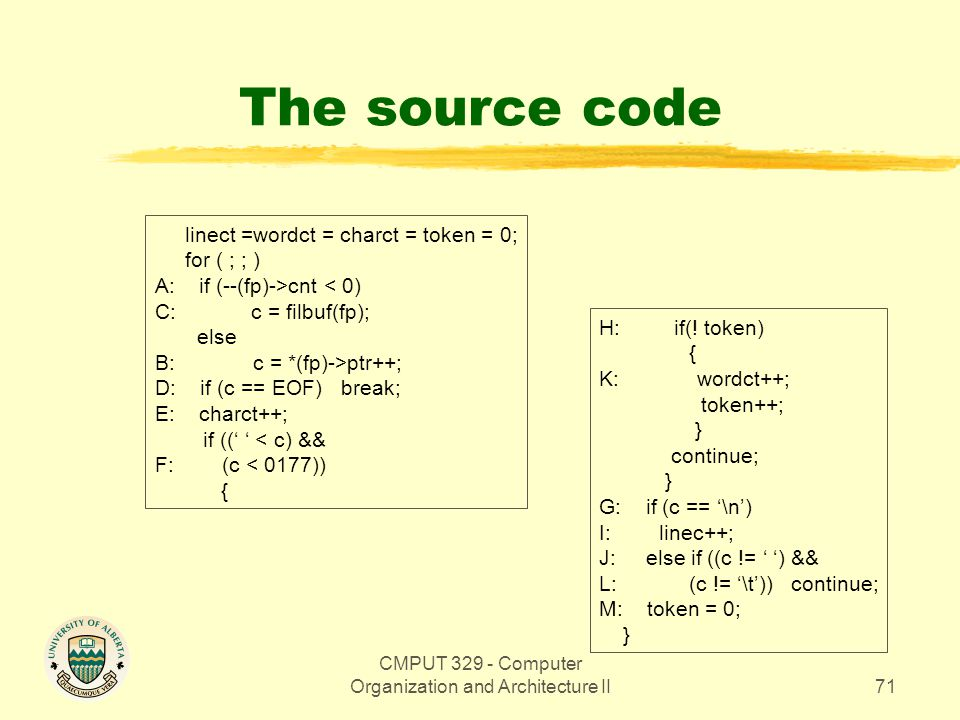 CMPUT 329 - Computer Organization and Architecture II71 The source code linect =wordct = charct = token = 0; for ( ; ; ) A: if (--(fp)->cnt < 0) C:c =