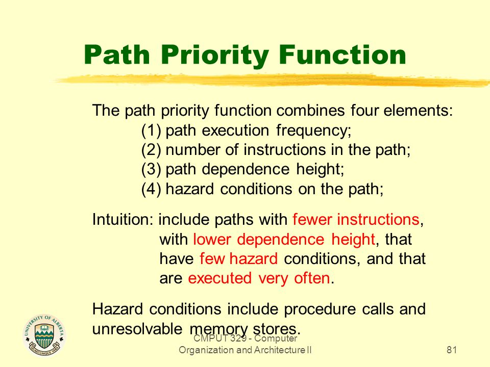 CMPUT 329 - Computer Organization and Architecture II81 Path Priority Function The path priority function combines four elements: (1) path execution f