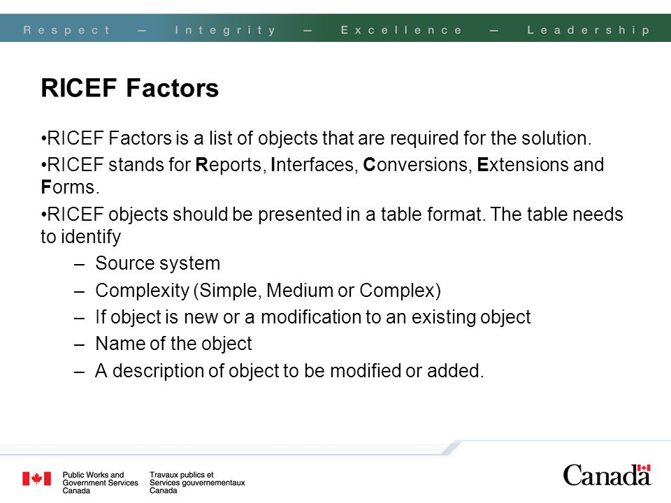 RICEF Factors RICEF Factors is a list of objects that are required for the solution. RICEF stands for Reports, Interfaces, Conversions, Extensions and