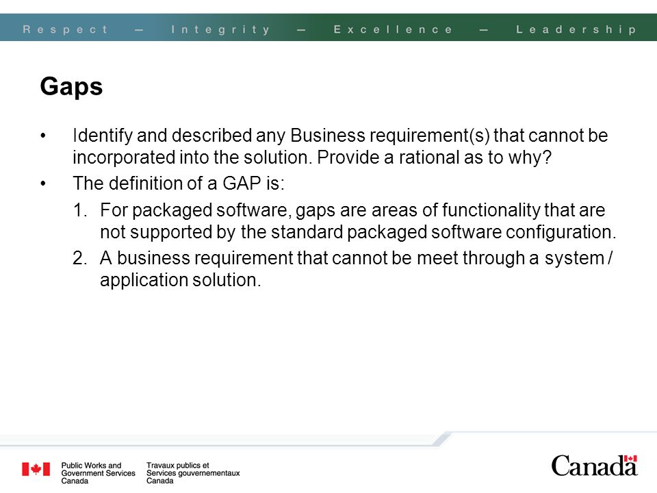 Gaps Identify and described any Business requirement(s) that cannot be incorporated into the solution. Provide a rational as to why? The definition of