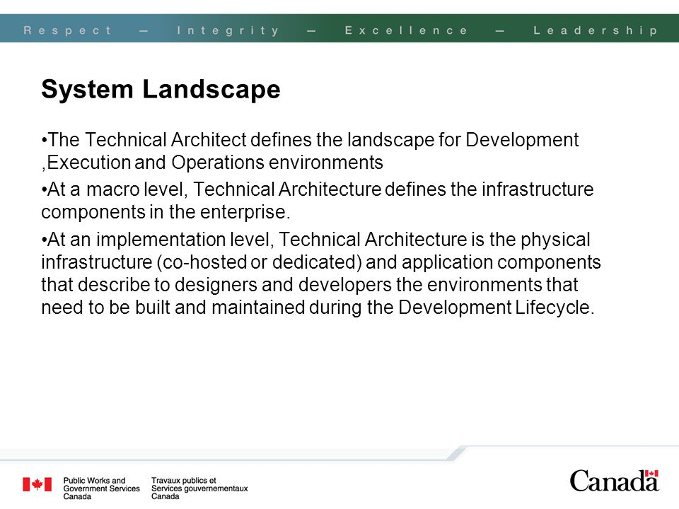 System Landscape The Technical Architect defines the landscape for Development,Execution and Operations environments At a macro level, Technical Archi
