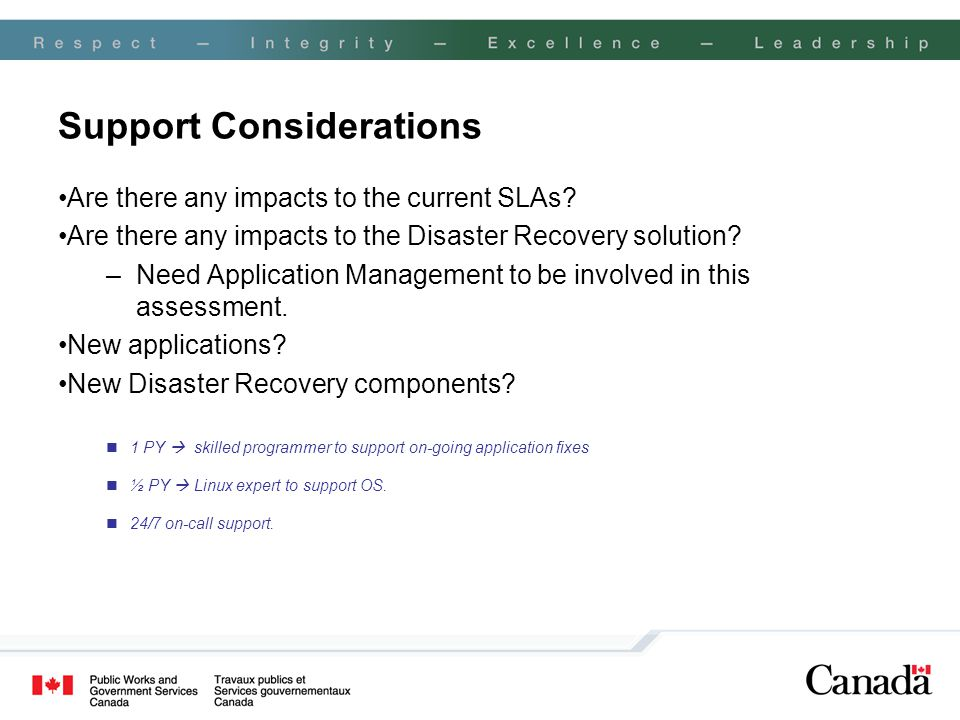 Support Considerations Are there any impacts to the current SLAs? Are there any impacts to the Disaster Recovery solution? –Need Application Managemen