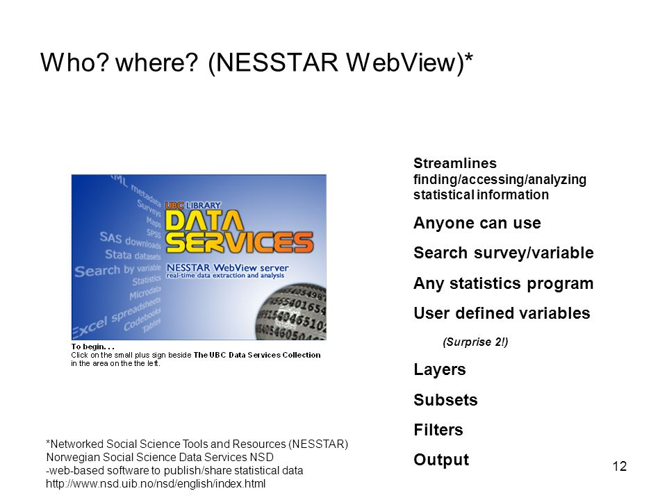 12 Who? where? (NESSTAR WebView)* Streamlines finding/accessing/analyzing statistical information Anyone can use Search survey/variable Any statistics