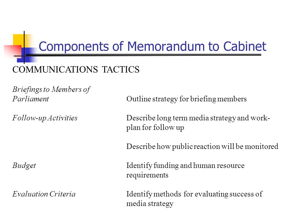 Components of Memorandum to Cabinet COMMUNICATIONS TACTICS Briefings to Members of ParliamentOutline strategy for briefing members Follow-up Activitie