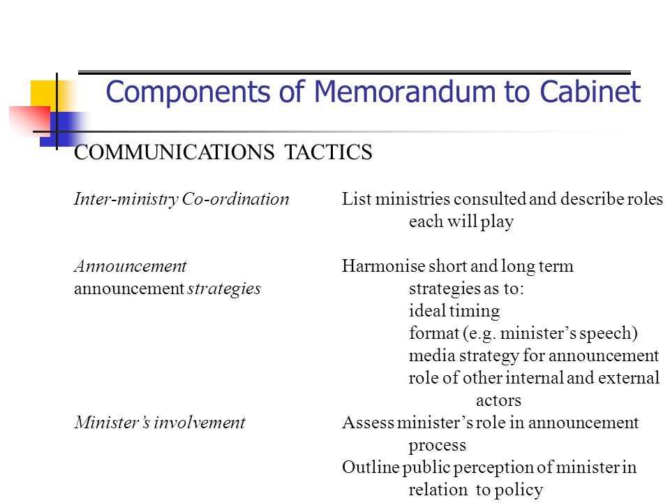 Components of Memorandum to Cabinet COMMUNICATIONS TACTICS Inter-ministry Co-ordinationList ministries consulted and describe roles each will play Ann
