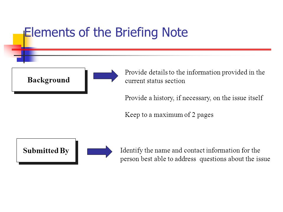 Elements of the Briefing Note Provide details to the information provided in the current status section Provide a history, if necessary, on the issue