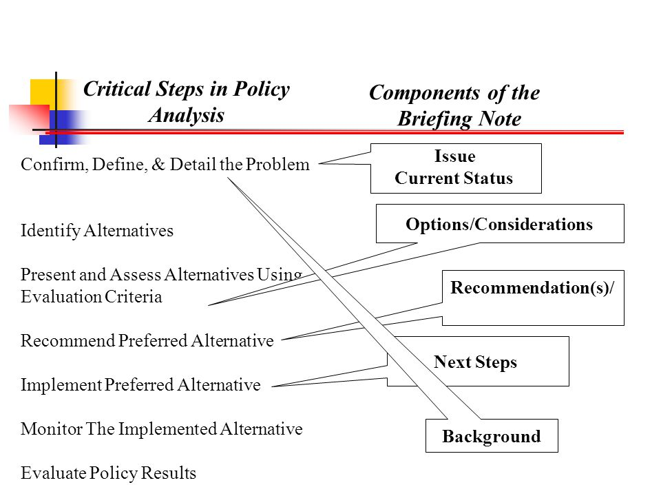 Critical Steps in Policy Analysis Components of the Briefing Note Confirm, Define, & Detail the Problem Identify Alternatives Present and Assess Alter