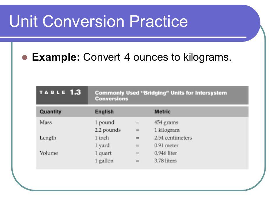 Unit Conversion Practice Example: Convert 4 ounces to kilograms.