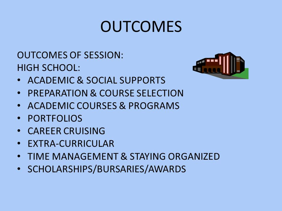 OUTCOMES OUTCOMES OF SESSION: HIGH SCHOOL: ACADEMIC & SOCIAL SUPPORTS PREPARATION & COURSE SELECTION ACADEMIC COURSES & PROGRAMS PORTFOLIOS CAREER CRUISING EXTRA-CURRICULAR TIME MANAGEMENT & STAYING ORGANIZED SCHOLARSHIPS/BURSARIES/AWARDS