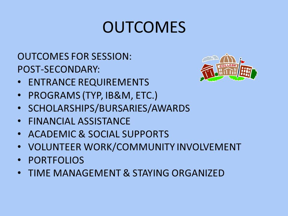 OUTCOMES OUTCOMES FOR SESSION: POST-SECONDARY: ENTRANCE REQUIREMENTS PROGRAMS (TYP, IB&M, ETC.) SCHOLARSHIPS/BURSARIES/AWARDS FINANCIAL ASSISTANCE ACADEMIC & SOCIAL SUPPORTS VOLUNTEER WORK/COMMUNITY INVOLVEMENT PORTFOLIOS TIME MANAGEMENT & STAYING ORGANIZED