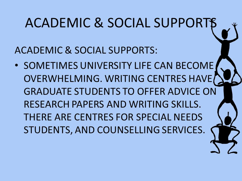 ACADEMIC & SOCIAL SUPPORTS ACADEMIC & SOCIAL SUPPORTS: SOMETIMES UNIVERSITY LIFE CAN BECOME OVERWHELMING.