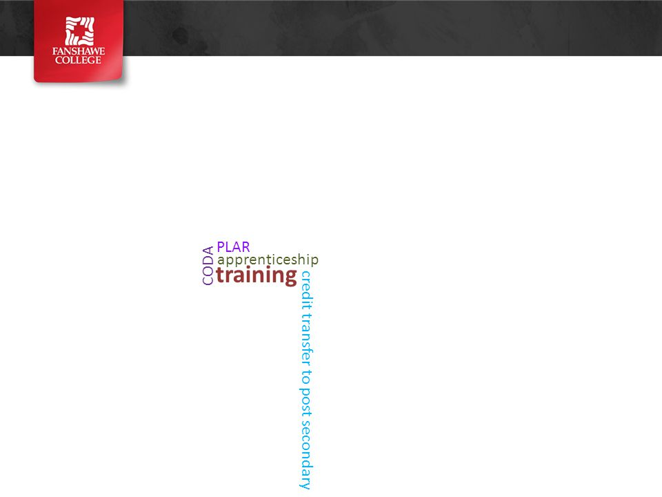 training apprenticeship CODA PLAR credit transfer to post secondary