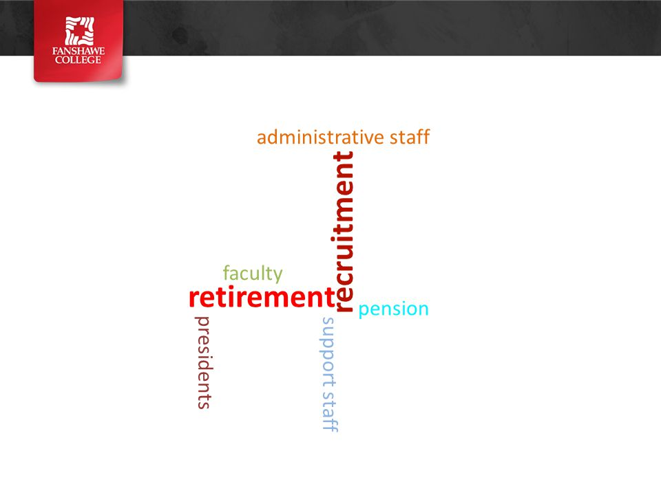 retirement recruitment presidents faculty administrative staff support staff pension