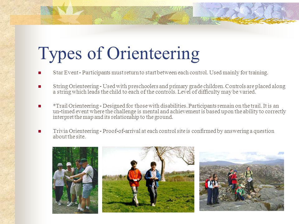 A Brief History The word orienteering is associated with the very early history of the sport, and was used by the Military Academy, Sweden in 1886 to mean crossing unknown territory with the aid of a map and compass .