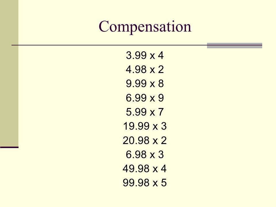 Compensation 3.99 x 4 4.98 x 2 9.99 x 8 6.99 x 9 5.99 x 7 19.99 x 3 20.98 x 2 6.98 x 3 49.98 x 4 99.98 x 5