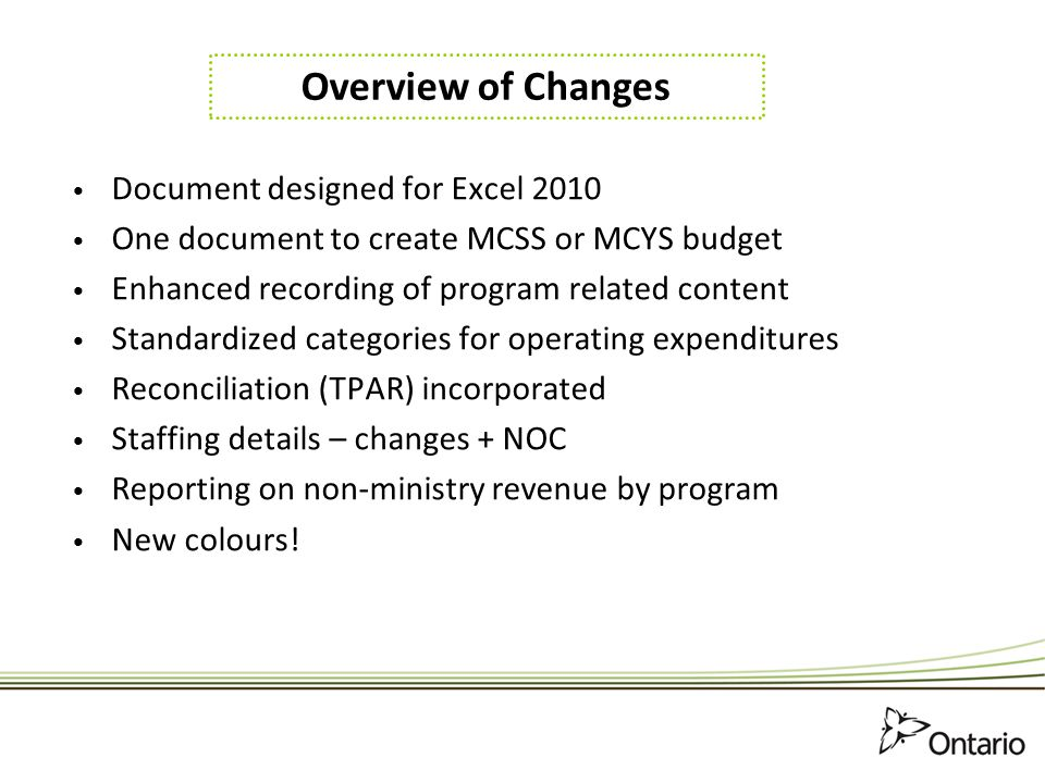 Changes to the Updates-Mise a jour Worksheet 2013-14 Dropdown menu to select Ministry.