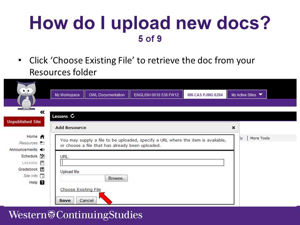 How do I upload new docs.