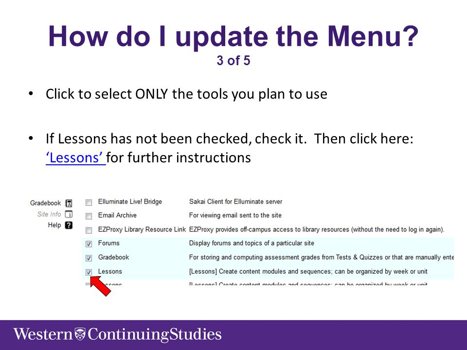 How do I update the Menu? 3 of 5 Click to select ONLY the tools you plan to use If Lessons has not been checked, check it. Then click here: 'Lessons'