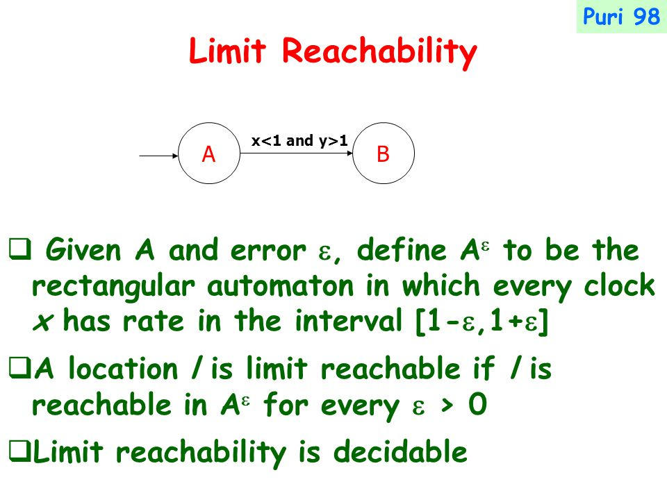 Limit Reachability  Given A and error , define A  to be the rectangular automaton in which every clock x has rate in the interval [1- ,1+  ]  A location l is limit reachable if l is reachable in A  for every  > 0  Limit reachability is decidable Puri 98 AB x 1