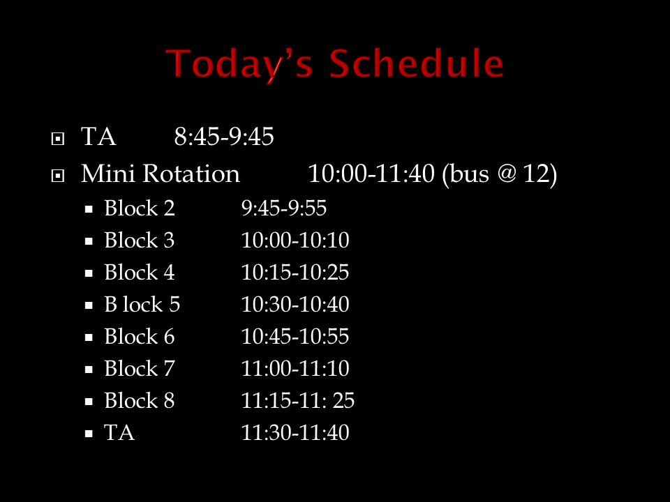  TA8:45-9:45  Mini Rotation10:00-11:40 (bus @ 12)  Block 2 9:45-9:55  Block 310:00-10:10  Block 410:15-10:25  B lock 510:30-10:40  Block 610:45-10:55  Block 711:00-11:10  Block 811:15-11: 25  TA11:30-11:40