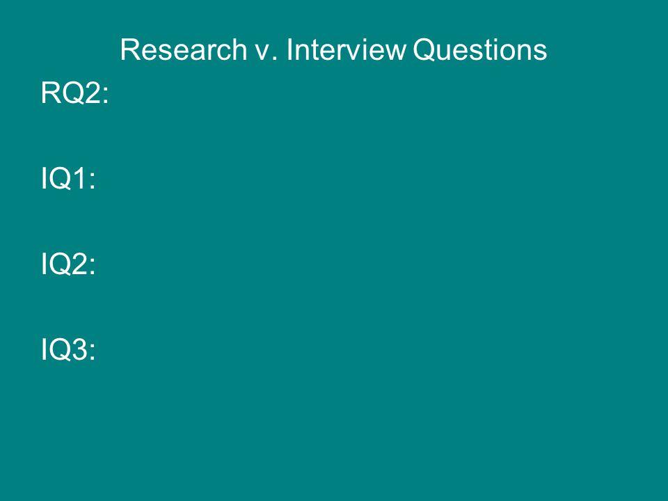 Research v. Interview Questions RQ2: IQ1: IQ2: IQ3: