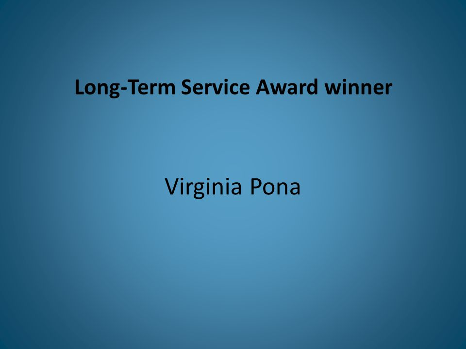 Long-Term Service Award winner Virginia Pona