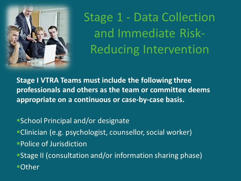 Stage 1 - Data Collection and Immediate Risk- Reducing Intervention Stage I VTRA Teams must include the following three professionals and others as th