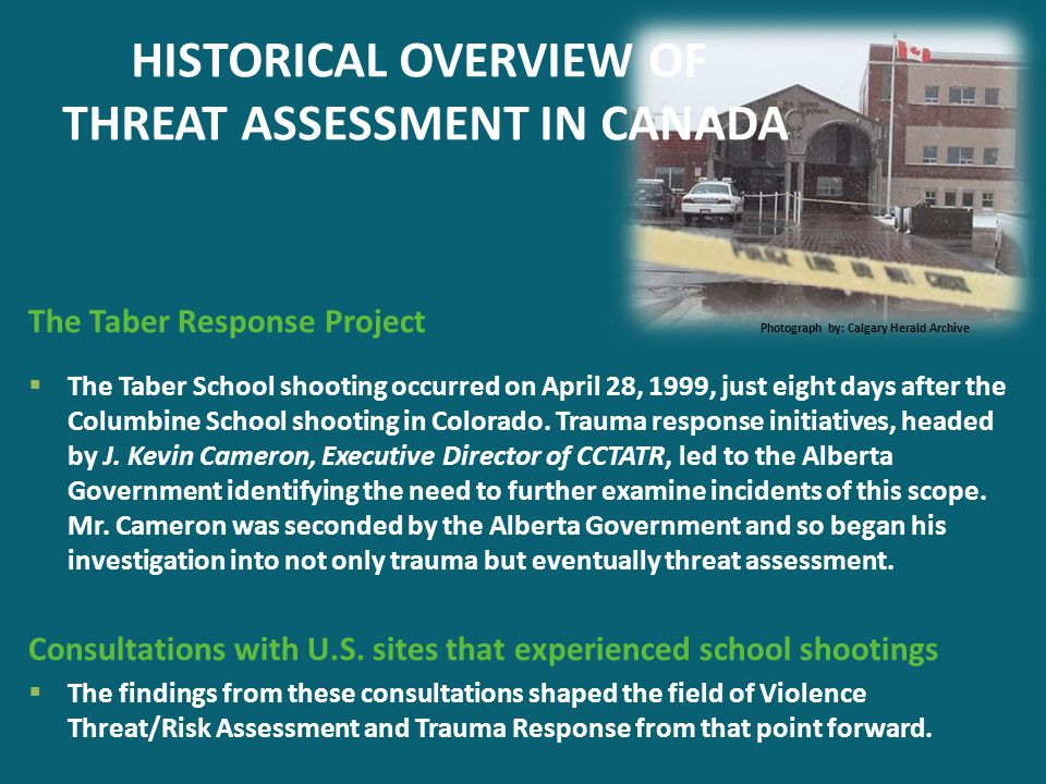 HISTORICAL OVERVIEW OF THREAT ASSESSMENT IN CANADA The Taber Response Project Photograph by: Calgary Herald Archive  The Taber School shooting occurr