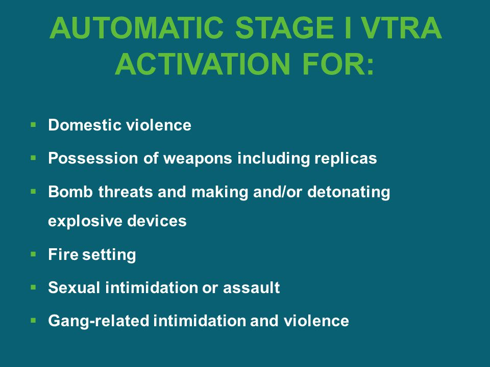 AUTOMATIC STAGE I VTRA ACTIVATION FOR:  Domestic violence  Possession of weapons including replicas  Bomb threats and making and/or detonating expl