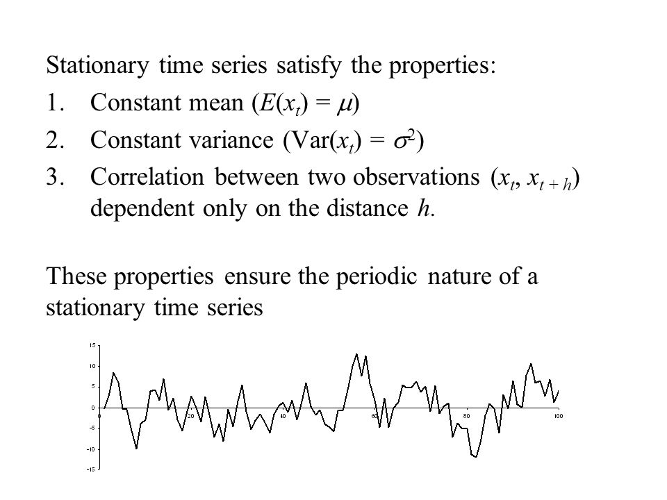 Stationary time series satisfy the properties: 1.Constant mean (E(x t ) =  ) 2.Constant variance (Var(x t ) =  2 ) 3.Correlation between two observations (x t, x t + h ) dependent only on the distance h.
