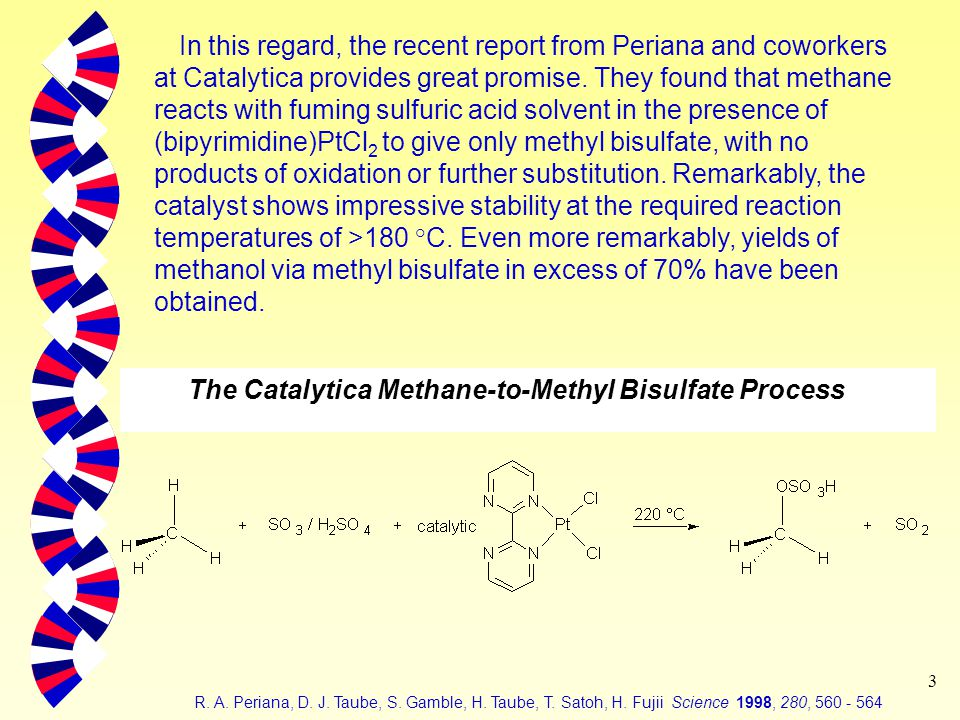 3 In this regard, the recent report from Periana and coworkers at Catalytica provides great promise.